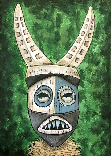 adventureland mask, a painting by Tiki King