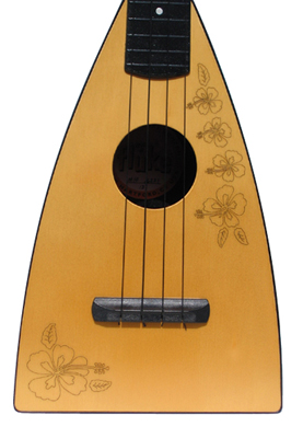 Laser Island Fluke Ukulele by Tiki King, close up