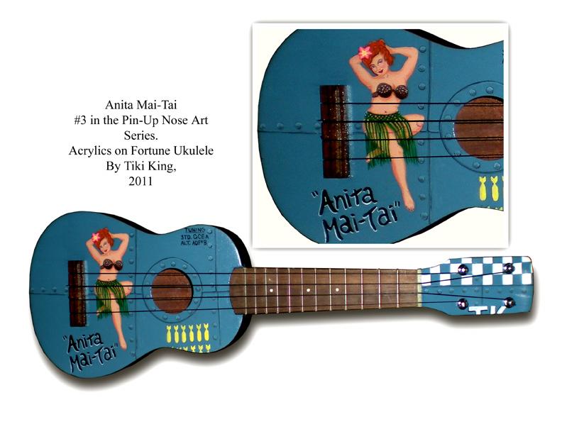 Tiki King's pin-up art ukulele, Anita Mai-Tai