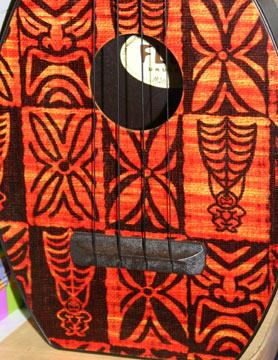 Barkcloth Flea Ukulele close up by Tiki King