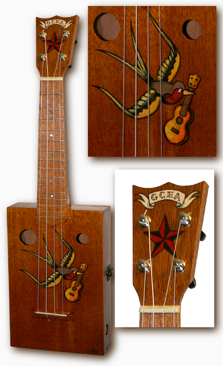 swallow tattoo cigarbox Ukulele