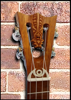 concert Ukulele #51, headstock detail, Built by Tiki King, 2016