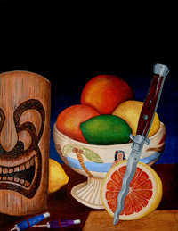 Grapefruit with Italian Switchblade, a painting by Tiki King