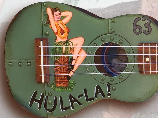 Pin-Up Art Ukulele detail hula-la by Tiki King