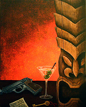 Items of interest, a painting by Tiki King