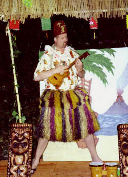 Tiki King on stage at the Luau
