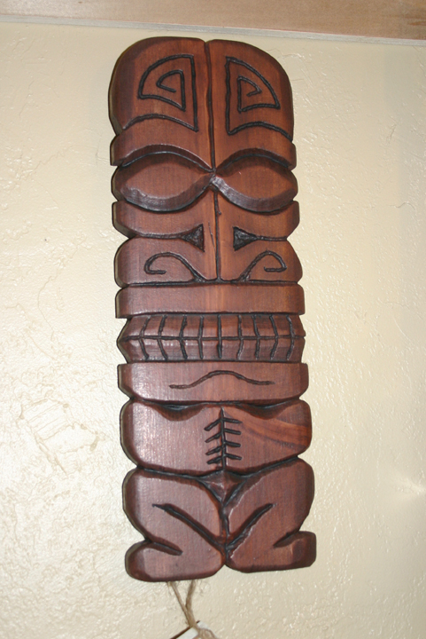 Original carvings by tiki king mark pine carving