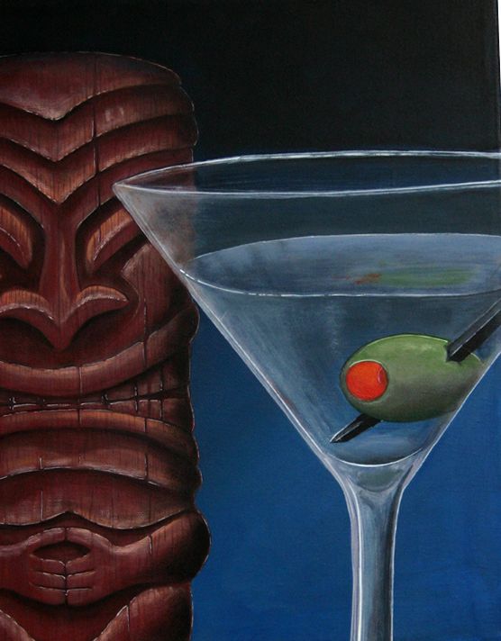 Martini with Tiki, a painting by Tiki King