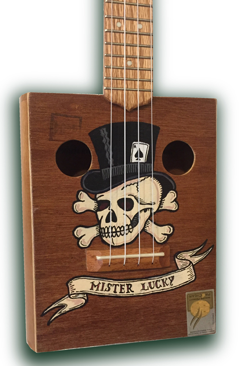 lucky 2 tattoo cigarbox Ukulele detail