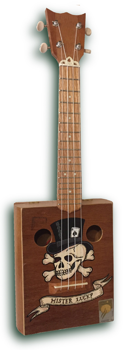 lucky tattoo cigarbox Ukulele 2
