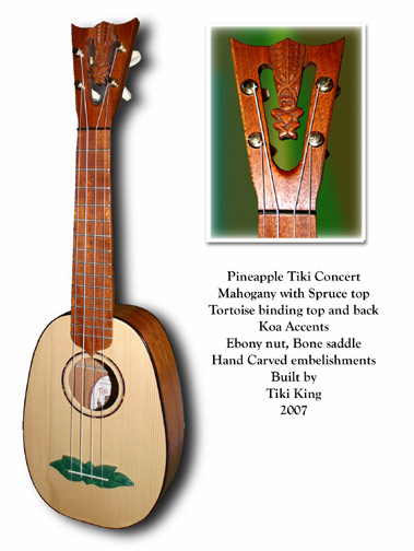 custom pineapple shape Ukulele by Tiki King