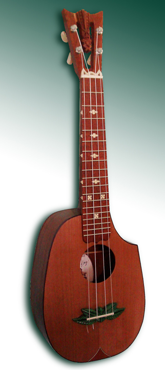 Tiki King Pineapple Cutaway Ukulele, #46 full