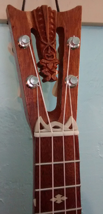 Tiki King Pineapple Cutaway Ukulele, #46 head Detail