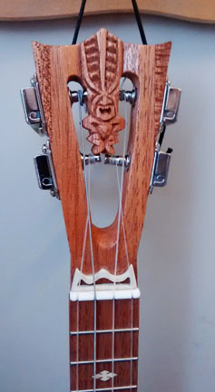 Red Patina Uke headstock by Tiki King, from: www.tikiking.com