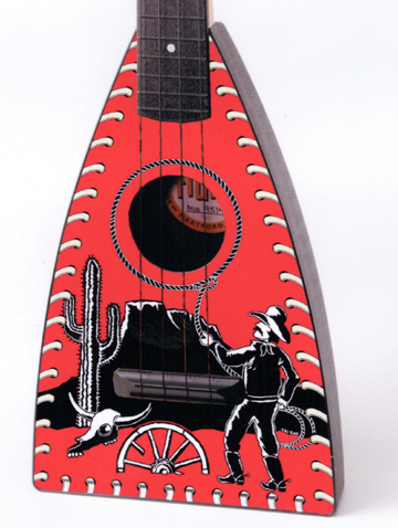 Close up of Cowboy Fluke Ukulele by Tiki King