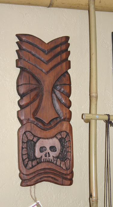 Skull mouth tiki  carving by Tiki King