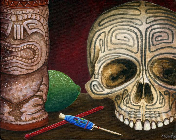 Skull study, a painting by Tiki King