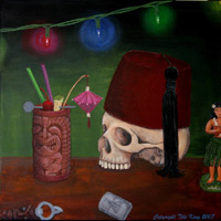 Skull with Fez 2, a painting by Tiki King