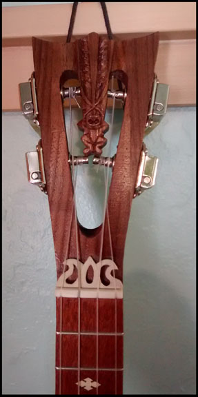Tapa Banjo Uke headstock by Tiki King, from: www.tikiking.com