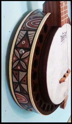 Tapa Cloth inspired Banjo Uke detail