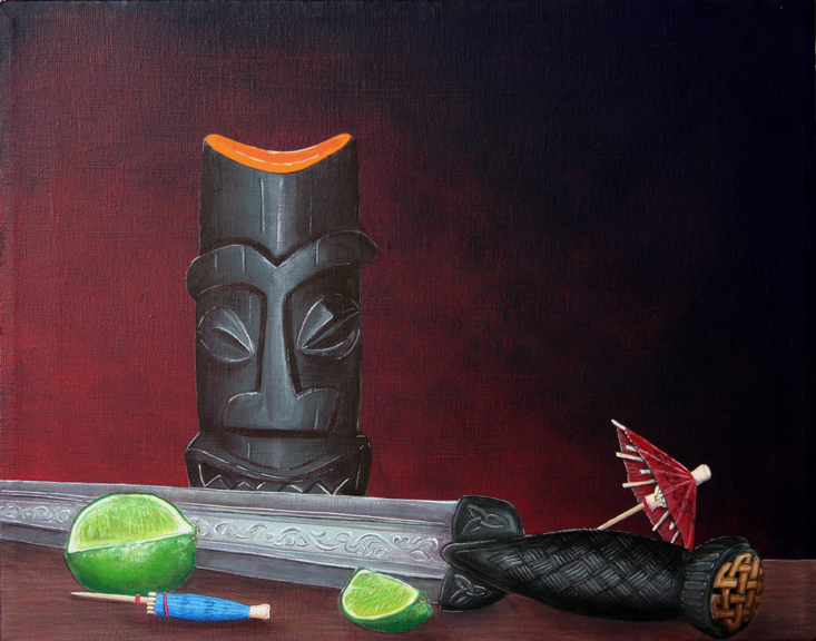 Tiki Mug with Scottish Dirk, a painting by Tiki King