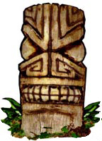 a Tiki King palm log carving
