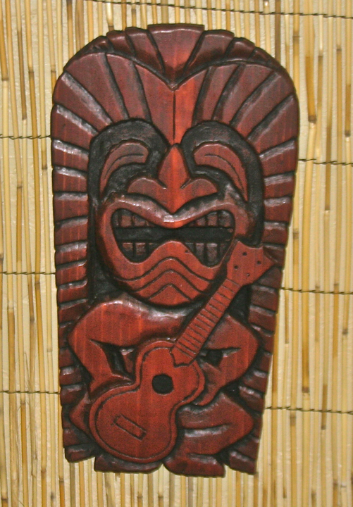 Ukulele playing Tiki wall carving by Tiki King