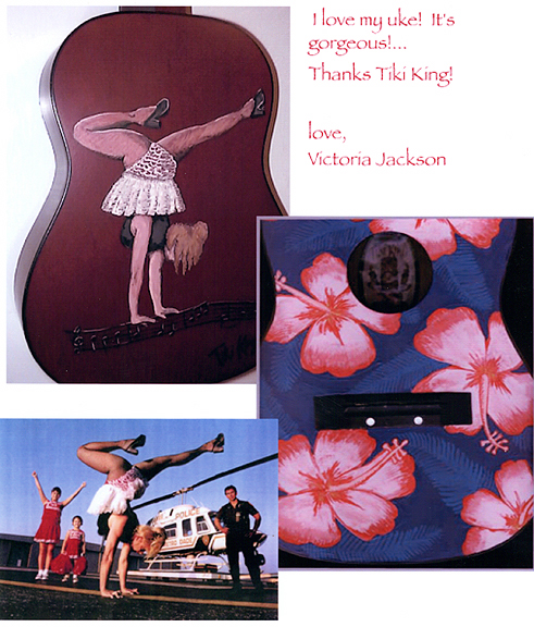 Victoria Jackson's Baritone Ukulele, with art by Tiki King