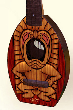 Close up of tiki Flea Ukulele by Tiki King