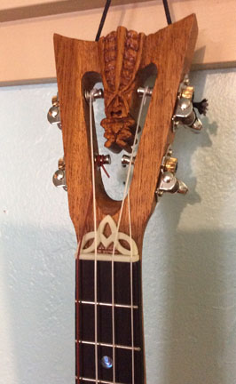 Tiki King Tenor Ukulele, headstock detail, Built by Tiki King, 2016